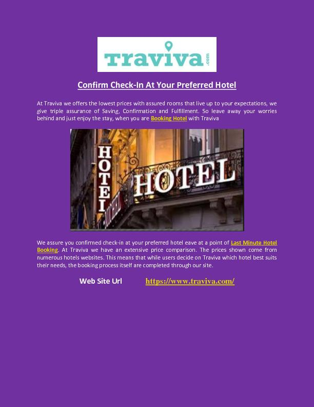Confirm Check-In At Your Preferred Hotel