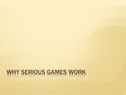 Why Serious games work