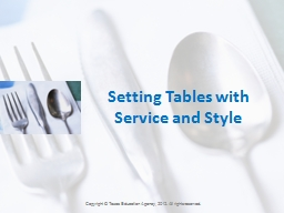 Setting Tables with Service and Style