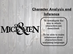 Character Analysis and Inference