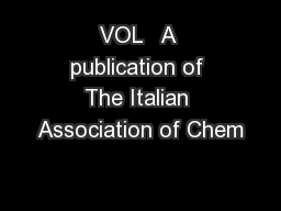 VOL   A publication of The Italian Association of Chem PowerPoint PPT Presentation