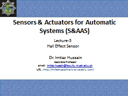 Sensors & Actuators for Automatic Systems (S&AAS)