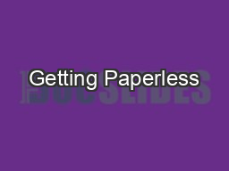 Getting Paperless