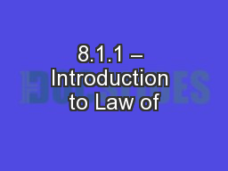8.1.1 – Introduction to Law of