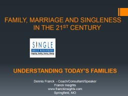 FAMILY, MARRIAGE AND SINGLENESS           	         IN THE