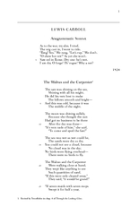 LEWIS CARROLL Anagrammatic Sonnet As to the war try el