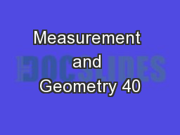 Measurement and Geometry 40