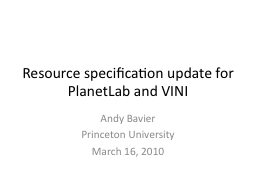 Resource specification update for