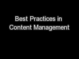 Best Practices in Content Management
