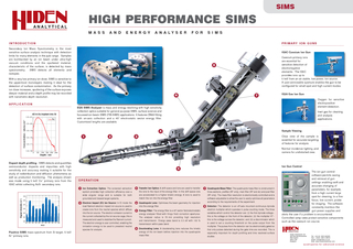 EQS SIMS Analyser is mass and energy resolving with hi PowerPoint PPT Presentation