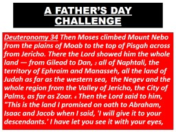 A FATHER'S DAY CHALLENGE