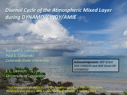 Diurnal Cycle of the Atmospheric Mixed Layer during DYNAMO/ PowerPoint PPT Presentation