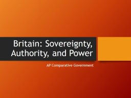 Britain: Sovereignty, Authority, and Power