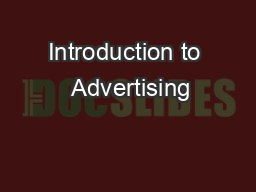 Introduction to  Advertising PowerPoint PPT Presentation