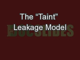 "The ""Taint"" Leakage Model PowerPoint PPT Presentation"