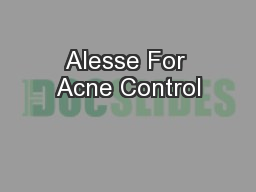 Alesse For Acne Control