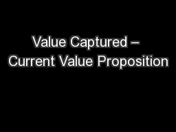 Value Captured – Current Value Proposition