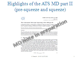 Highlights of the ATS MD part II