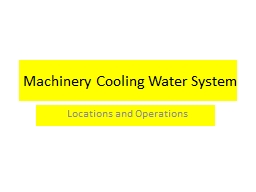 Machinery Cooling Water System