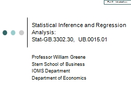 Statistical Inference and Regression Analysis: