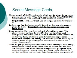 1 Secret Message Cards