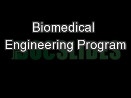 Biomedical Engineering Program