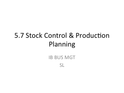 5.7 Stock Control & Production Planning