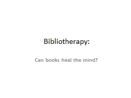Bibliotherapy: