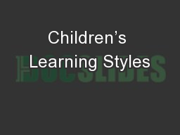 Children's Learning Styles