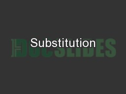 Substitution PowerPoint PPT Presentation