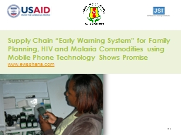 Supply Chain �Early Warning System� for Family Planning