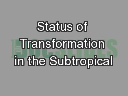 Status of Transformation in the Subtropical