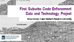 First Suburbs Code Enforcement Data and Technology Project