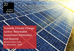 Towards Climate Change Justice: Renewable Investment Arbi