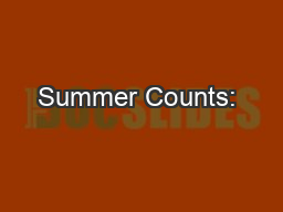 Summer Counts: