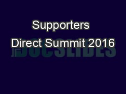 Supporters Direct Summit 2016
