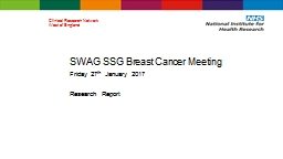 SWAG SSG Breast Cancer Meeting PowerPoint PPT Presentation