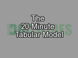 The 20-Minute Tabular Model