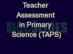 Teacher Assessment in Primary Science (TAPS)