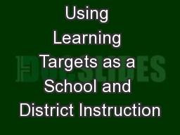 Using Learning Targets as a School and District Instruction