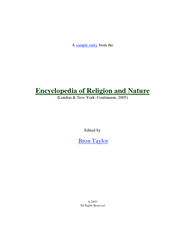 A sample entry from the Encyclopedia of Religion and N