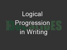 Logical Progression in Writing