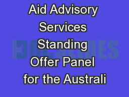 Aid Advisory Services Standing Offer Panel for the Australi