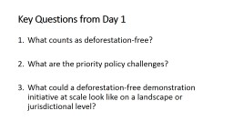 Key Questions from Day 1