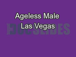 Ageless Male Las Vegas