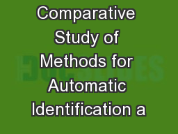 Comparative Study of Methods for Automatic Identification a PowerPoint PPT Presentation