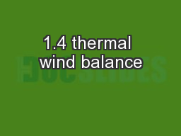 1.4 thermal wind balance