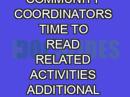 A RIF GUIDE FOR COMMUNITY COORDINATORS TIME TO READ RELATED ACTIVITIES ADDITIONAL RESOURCES E