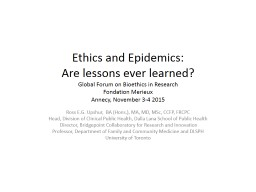 Ethics and Epidemics: