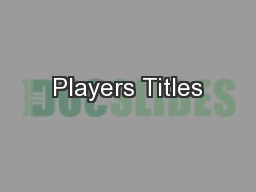 Players Titles